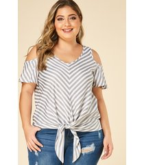 yoins plus size grey stripe cold shoulder knot design blouse