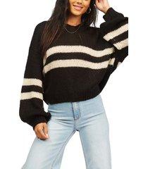 billabong laid back stripe v-neck sweater, size large in off black at nordstrom