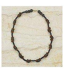 recycled glass beaded necklace, 'akan akoma' (ghana)