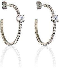 orecchini a cerchio in metallo e strass per donna