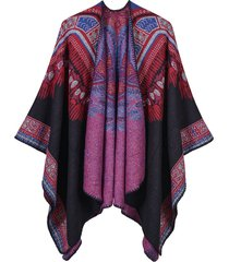 elegante cardigan con stampa sciallata irregolare ed etnica