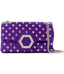 philipp plein crystal-embellished satin shoulder bag - purple