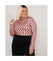 blusa feminina plus size mindset estampada geométrica manga longa gola alta multicor