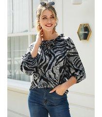 yoins blusa holgada de leopardo con ribete de volante negro