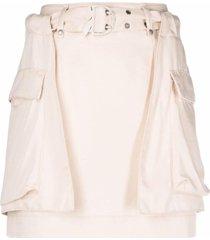 patrizia pepe oversized-pockets skirt - neutrals
