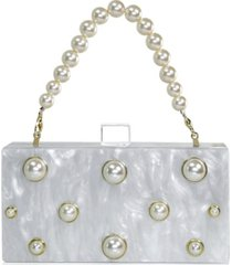 milanblocks embellished acrylic clutch with top handle