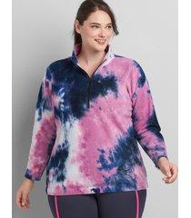 lane bryant women's livi tie-dye fleece pullover 18/20 bold pink
