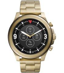 fossil men's tech latitude hr gold-tone stainless steel bracelet hybrid smart watch 48mm