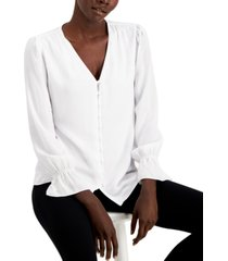 alfani petite v-neck button-front blouse, created for macy's