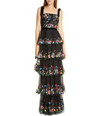 women's marchesa notte floral embroidered tiered tulle gown