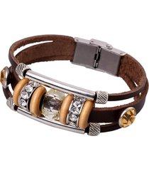 braccialetto di cuoio genuino d'annata del braccialetto del branello del punk del braccialetto per lei