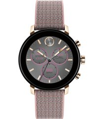 movado connect 2.0 pink sand fabric strap hybrid touchscreen smart watch 40mm