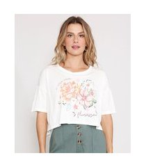 camiseta cropped de viscose floral manga curta decote redondo off white