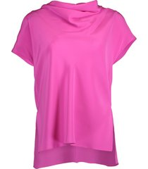 hot pink cowl neck top