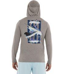 guy harvey men's super grand slam barred long sleeve performance hoodie with pocket