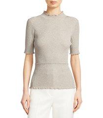lurex short-sleeve sweater
