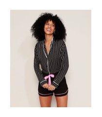 short de pijama feminino com vivo contrastante e laço preto