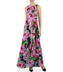 donna ricco floral-print keyhole maxi dress