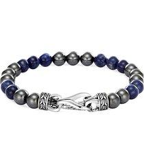 'asli classic chain' hematite sodalite silver bead bracelet