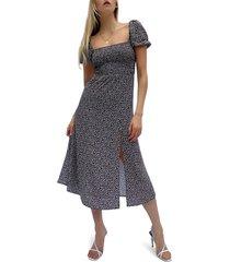women's french connection elao verona crepe midi dress, size 12 - black