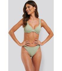 na-kd swimwear structured lace edge high cut bikini panty - green