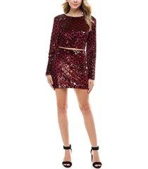 crystal doll juniors' sequin-pattern top & skirt