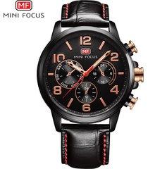 reloj para hombre/correa de piel/ mini focus / 0001g / reloj-negro