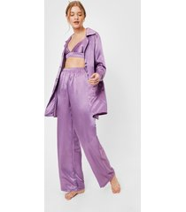 womens satin 3 pc oversized pajama shirt and pants set - lavender