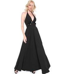vestido frente única lança perfume longo pedraria preto