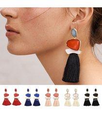 donna orecchini a goccia geometrica in multicolori con cristallo di resina e frange in cotone alla moda accessori da maglione