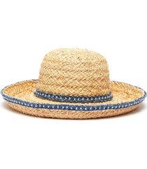 pearl embellished denim trim straw hat
