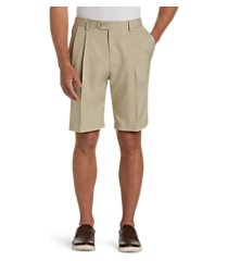 traveler performance pleat front traditional fit comfort waist shorts by jos. a. bank