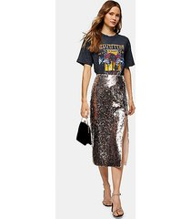 silver leopard print sequin pencil skirt - silver