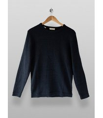 mens selected homme navy knitted organic cotton sweatshirt