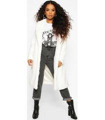 petite longline super soft faux fur coat, white