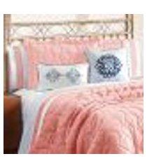 jogo de cama king size branco / rosê 4 peças 2,80m x 2,60m clássico