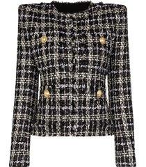 balmain tweed square-shoulder jacket - black