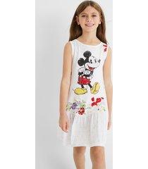mickey mouse cotton dress - white - 13/14