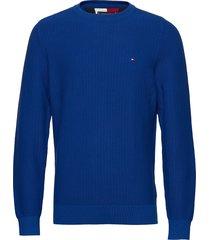 bold textured cotton sweater stickad tröja m. rund krage blå tommy hilfiger