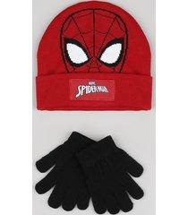 kit infantil de gorro homem aranha vermelho + luva em tricô preta