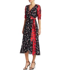 tanya taylor women's blaire floral silk wrap dress - red black - size 0