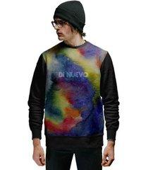 blusa de moletom di nuevo multicollor aquarela art new trend masculina - masculino