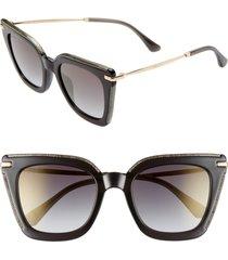 women's jimmy choo ciara 52mm cat eye sunglasses - rose gold havana/ grey
