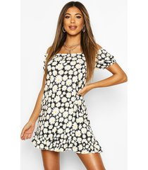 daisy print off shoulder swing dress, black