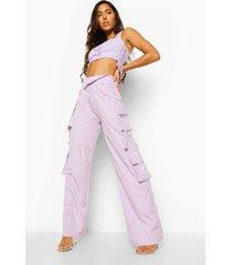 utility broek met gevouwen taille band, lilac