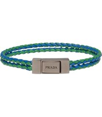 prada braided leather wrist strap - green