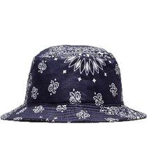x bedwin & the heartbreakers paisley print bucket hat blue