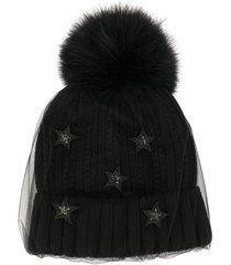 venna tulle overlay beanie hat - black