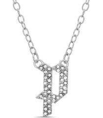 "catherine malandrino women's silver-tone rhinestone ""p"" initial necklace"