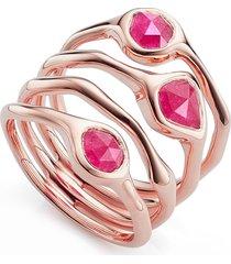 monica vinader siren cluster cocktail ring, size 6.5 in rose gold/pink quartz at nordstrom